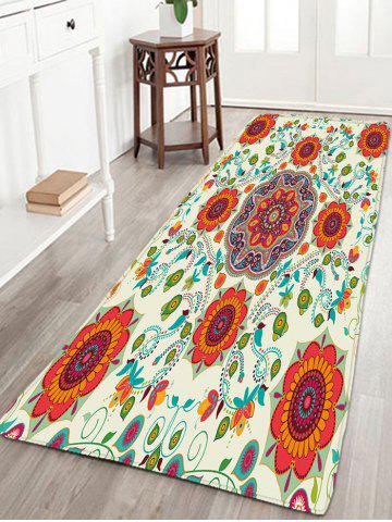 Online Skidproof Flannel Bohemian Flower Print Bath Rug - W16 INCH * L47 INCH PALOMINO Mobile