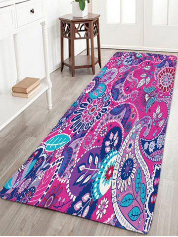 Store Antislip Flannel Bohemian Floral Pattern Rug - W16 INCH * L47 INCH PURPLE Mobile