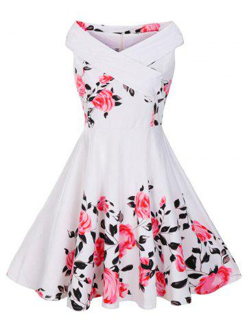 Cheap V Neck Floral Plus Size Vintage Dress WHITE 2XL