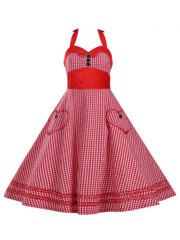 Halter Plaid Vintage Plus Size Dress - Red - 3xl