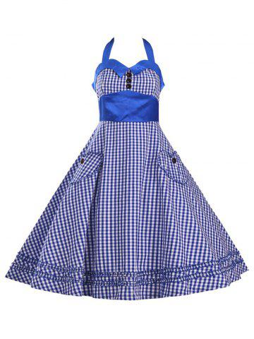Best Halter Plaid Vintage Plus Size Dress BLUE 3XL