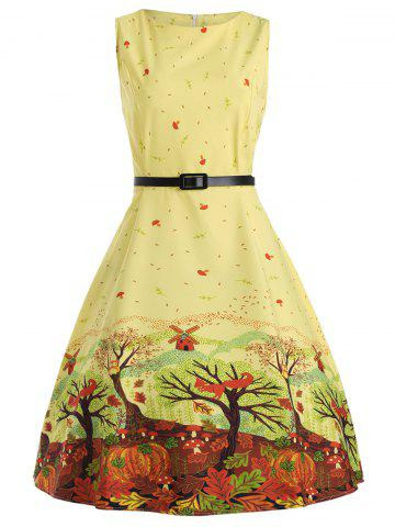 Sleeveless Printed A Line Dress with Belt - Yellow - S