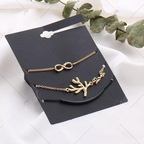 Hot Rhinestone Infinite Tree Anklet Set - COLORMIX  Mobile