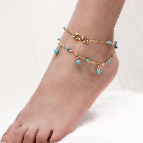 Best Layered Faux Turquoise Infinite Charm Anklet