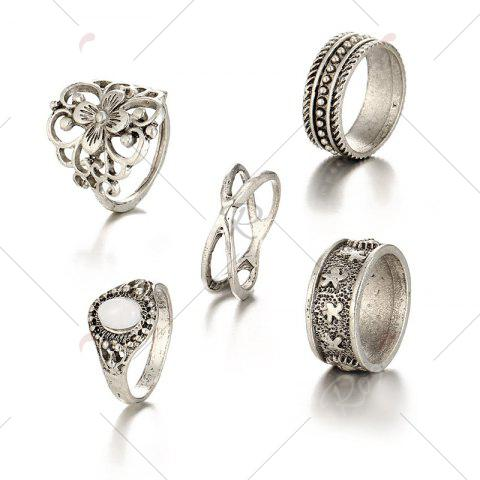 Buy Engraved Faux Opal Flower Ring Set - SILVER  Mobile