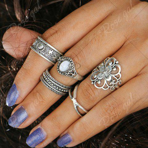 Store Engraved Faux Opal Flower Ring Set - SILVER  Mobile