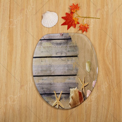 Hot Beach Shell 3PCS Toilet Lid Cover and Floor Mat Set - GREYISH BROWN  Mobile