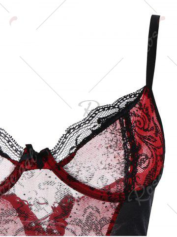 Discount Lace Up Underwire Mesh Corset - S DEEP RED Mobile