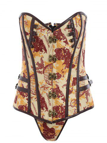 Lace Up Steampunk Corset Top - Brown - S