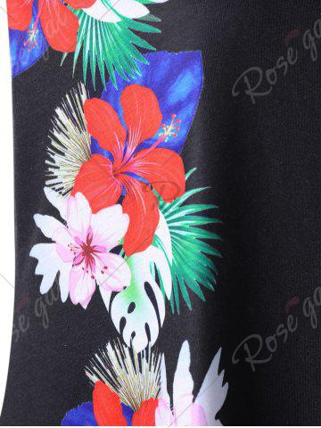 Affordable Tropical Flower Plus Size Tunic Tank Top - 4XL BLACK Mobile