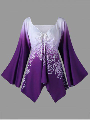 Best Plus Size Long Flared Sleeve Flower T-Shirt - 3XL PURPLE Mobile