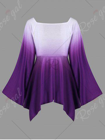 Online Plus Size Long Flared Sleeve Flower T-Shirt - 5XL PURPLE Mobile