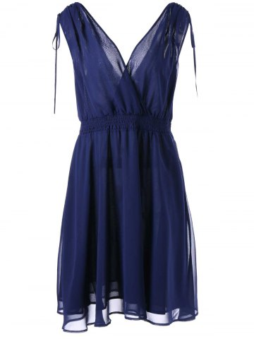 Trendy Empire Waist Plus Size Surplice Chiffon Dress DEEP BLUE XL