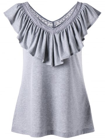 Ruched Ruffles V Neck Tank Top Gris Clair M