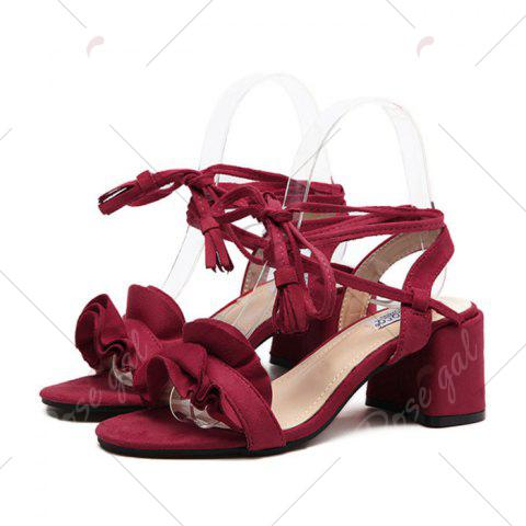Hot Ruffle Chunky Heel Sandals - 37 RED Mobile