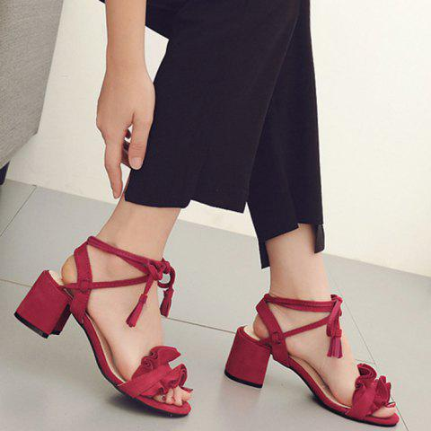 Store Ruffle Chunky Heel Sandals - 37 RED Mobile