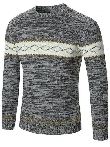 New Space Dyed Rhombus Pattern Crew Neck Sweater