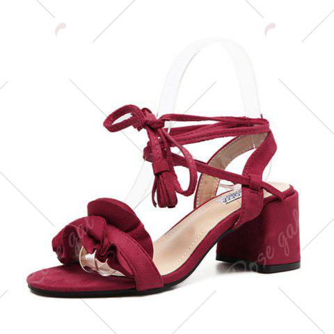 Fashion Ruffle Chunky Heel Sandals - 37 RED Mobile