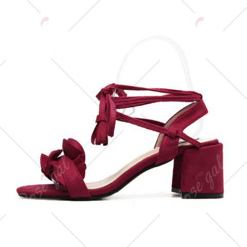 Discount Ruffle Chunky Heel Sandals - 37 RED Mobile
