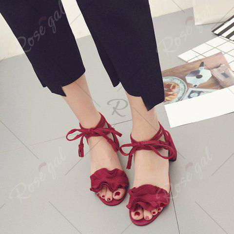 Buy Ruffle Chunky Heel Sandals - 37 RED Mobile