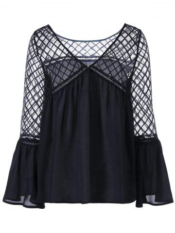 Cheap Flare Sleeve Lattice Blouse - XL BLACK Mobile