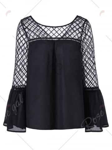 Outfit Flare Sleeve Lattice Blouse - XL BLACK Mobile