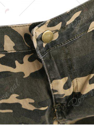 Fashion Camo Distressed Knee Length Shorts - XS ACU CAMOUFLAGE Mobile