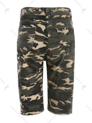 Unique Camo Distressed Knee Length Shorts - XS ACU CAMOUFLAGE Mobile