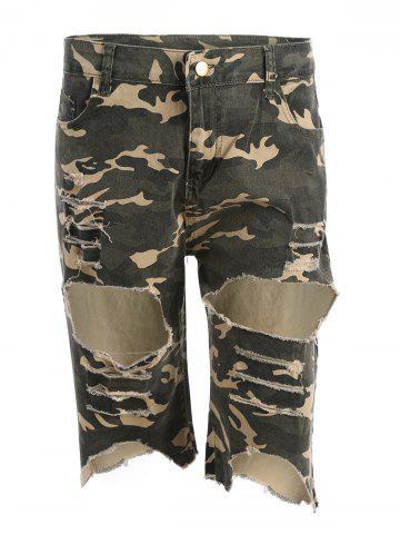 Camo Distressed Knee Length Shorts Camouflage ACU S