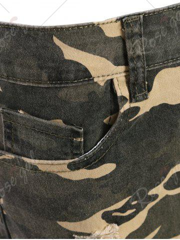 Fancy Camo Distressed Knee Length Shorts - L ACU CAMOUFLAGE Mobile