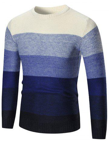 Ombre Crew Neck Pullover Sweater - Blue - 2xl