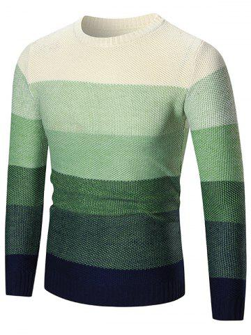 Ombre Crew Neck Pullover Sweater - Green - M