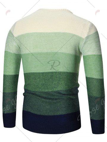 Buy Ombre Crew Neck Pullover Sweater - M GREEN Mobile