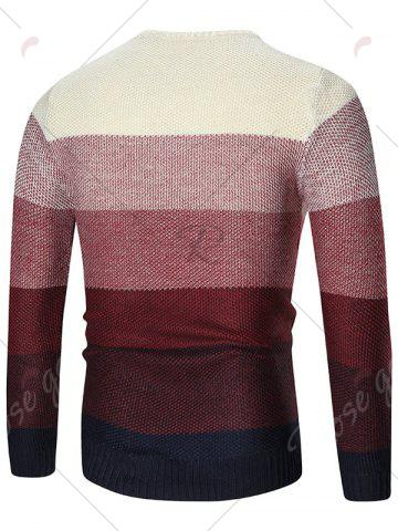 New Ombre Crew Neck Pullover Sweater - XL RED Mobile