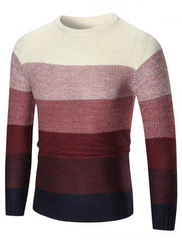 Online Ombre Crew Neck Pullover Sweater - M RED Mobile