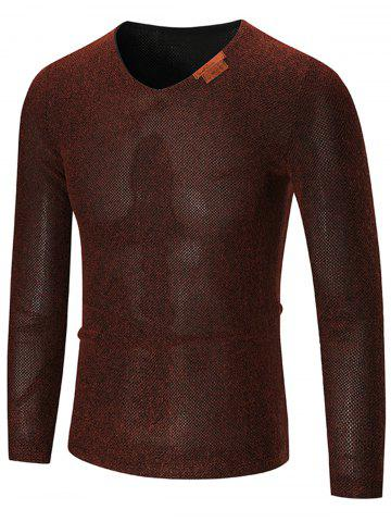 Affordable See Through V Neck Sweater - 3XL WINE RED Mobile