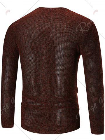 Sale See Through V Neck Sweater - 4XL WINE RED Mobile