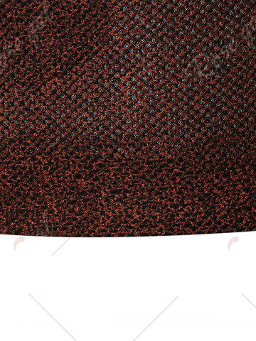 Shop See Through V Neck Sweater - 4XL WINE RED Mobile