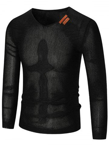 Unique See Through V Neck Sweater - 5XL BLACK Mobile