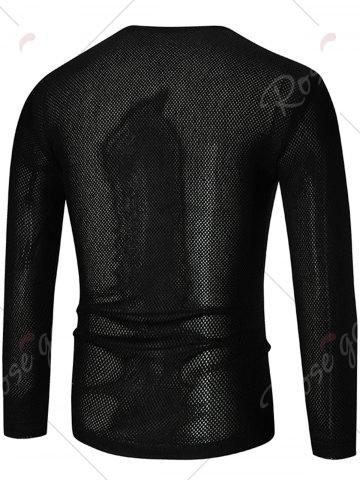 Best See Through V Neck Sweater - 5XL BLACK Mobile