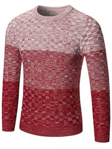 Best Crew Neck Ombre Checked Sweater - M RED Mobile