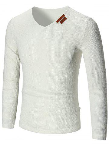 Buy See Through V Neck Sweater - 3XL WHITE Mobile