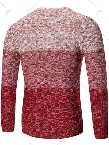 Fashion Crew Neck Ombre Checked Sweater - XL RED Mobile