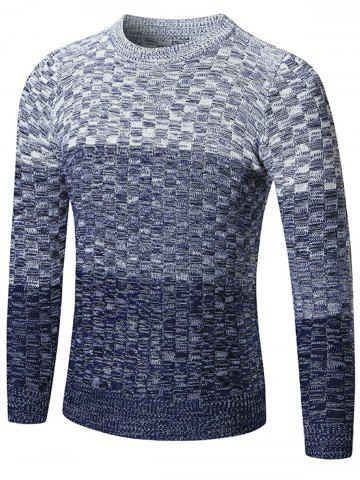Discount Crew Neck Ombre Checked Sweater - XL BLUE Mobile