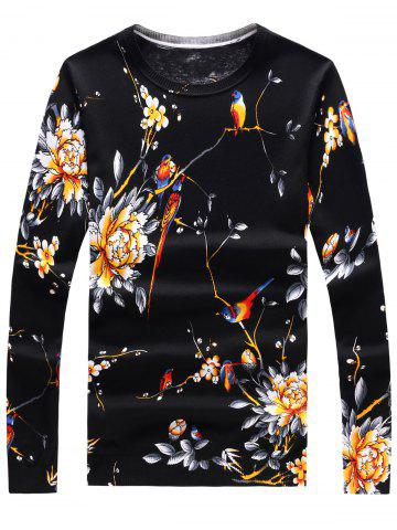 New Long Sleeve 3D Flowers and Birds Print Sweater - L BLACK Mobile