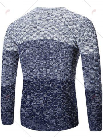 Buy Crew Neck Ombre Checked Sweater - L BLUE Mobile