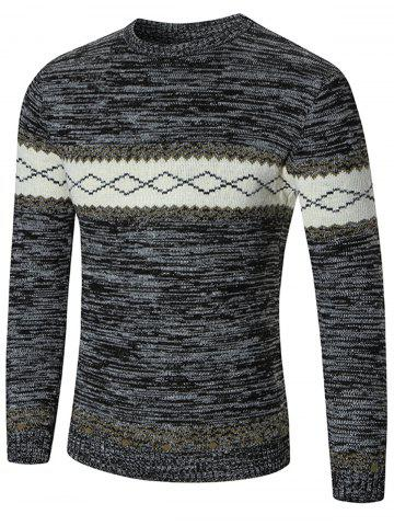 Outfits Space Dyed Rhombus Pattern Crew Neck Sweater - M DEEP GRAY Mobile