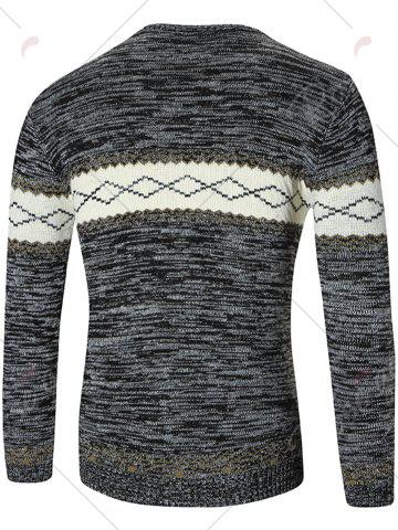 Fancy Space Dyed Rhombus Pattern Crew Neck Sweater - M DEEP GRAY Mobile