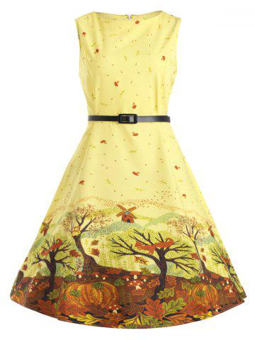 Latest Plus Size Tree Printed Retro Flare Dress with Belt - 4XL YELLOW Mobile