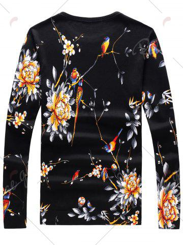 Online Long Sleeve 3D Flowers and Birds Print Sweater - 2XL BLACK Mobile